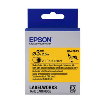EPSON LK-4YBA3 C53S654905 熱縮套管系列黃底黑字標籤帶(內徑3mm)