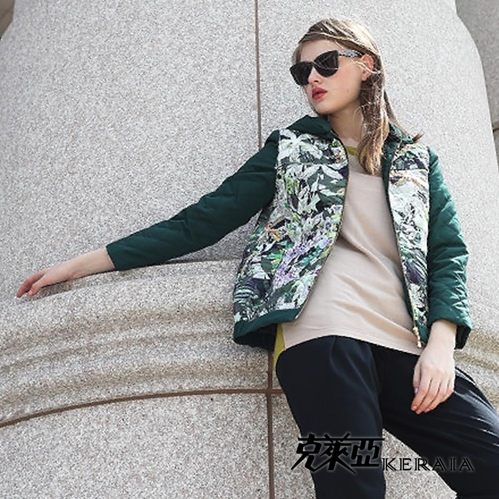 【克萊亞KERAIA】仙境花卉舖棉連帽外套