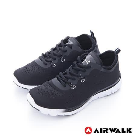 AIRWALK(女)  - SOCKIN 雙層襪感心機輕量慢跑鞋 - 膚感黑
