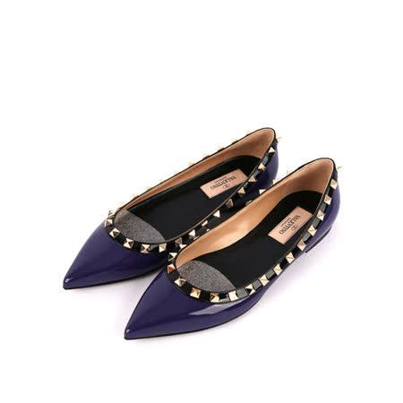 【Valentino】漆皮+鉚釘ROCKSTUDS平底鞋(紫色)