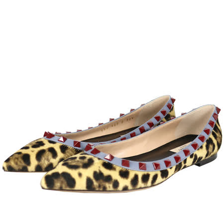 【Valentino】紅鉚釘ROCKSTUDS平底鞋 (豹紋馬毛+灰藍邊)