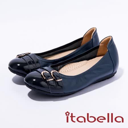 itabella.皮帶釦飾拚接造型娃娃鞋(藍色)