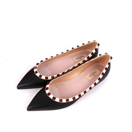 【Valentino】羊皮紅鉚釘ROCKSTUDS平底鞋(黑+粉綠邊)