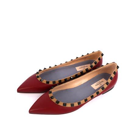 【Valentino】羊皮尖頭黑鉚釘ROCKSTUDS平底鞋(酒紅+焦糖邊)