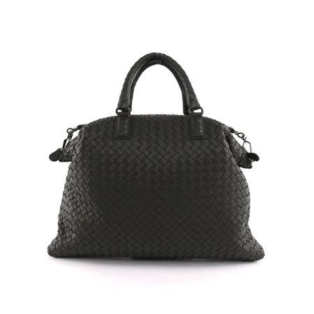 【BV/ BOTTEGA VENETA】小羊皮CONVERTIBLE編織手提肩背二用包 (黑色)