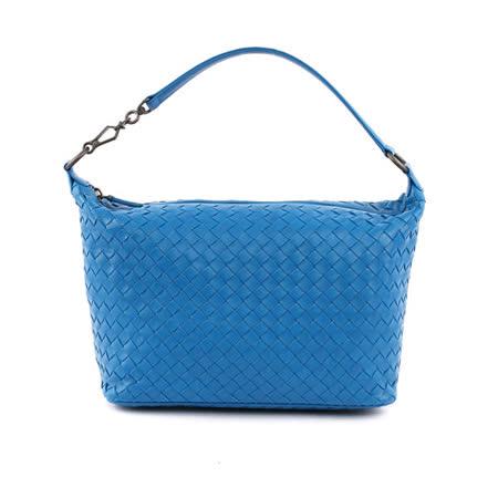 【BV/ BOTTEGA VENETA】單把小羊皮肩背手提包(小款)(鋼藍色)