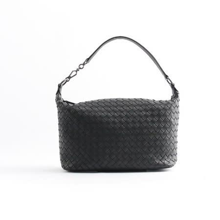 【BOTTEGA VENETA】單把小羊皮肩背手提包( 黑色)