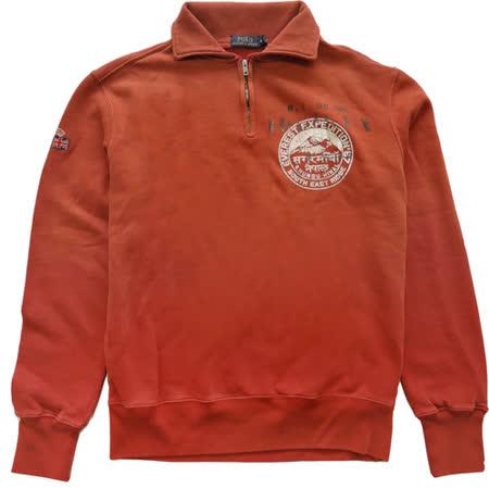 Ralph Lauren 立體印刷刺繡漸層拉鍊刷毛長T(橘紅)