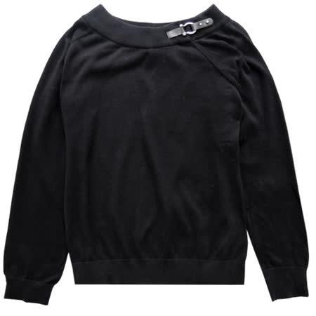 Ralph Lauren 女皮帶扣造型針織圓領長T(黑)