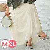 日本Portcros 預購-雅緻鬆緊腰長紗裙(共四色/M-3L)
