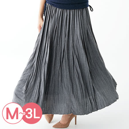 日本Portcros 預購-柔軟褶皺感飄逸長裙(共六色/M-3L)