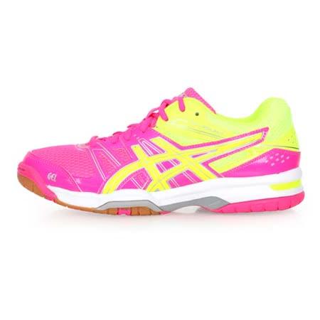 (女) ASICS GEL-ROCKET 7 排球鞋-羽球鞋 亞瑟士 粉紅螢光黃