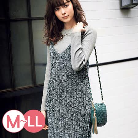 日本Portcros 預購-二件式羅紋珠寶上衣背心裙組(共三色/M-LL)