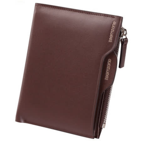 PUSH! 男士短夾皮夾頭層牛皮短皮夾零錢包精品生日禮物Q367棕色