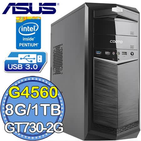 華碩B250平台【魔銀水晶】Intel第七代G系列雙核 GT730-2G獨顯 1TB效能電腦
