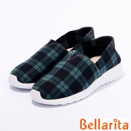 bellarita.學院格紋布休閒鞋(綠色)