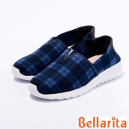 bellarita.學院格紋布休閒鞋(藍色)