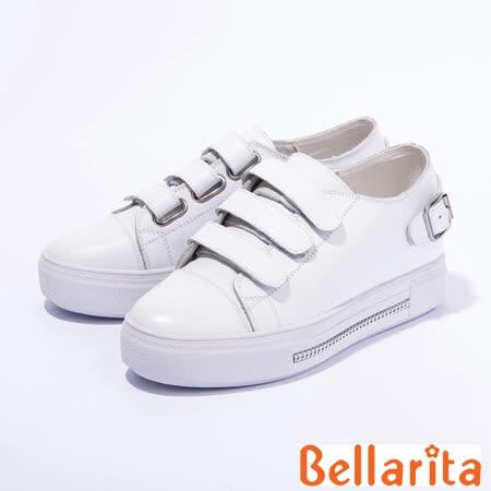 bellarita.簡約潮流魔鬼粘休閒鞋(白色)