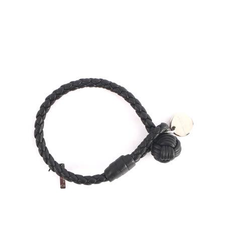 【BOTTEGA VENETA】小羊皮單圈編織手環 S (黑色)