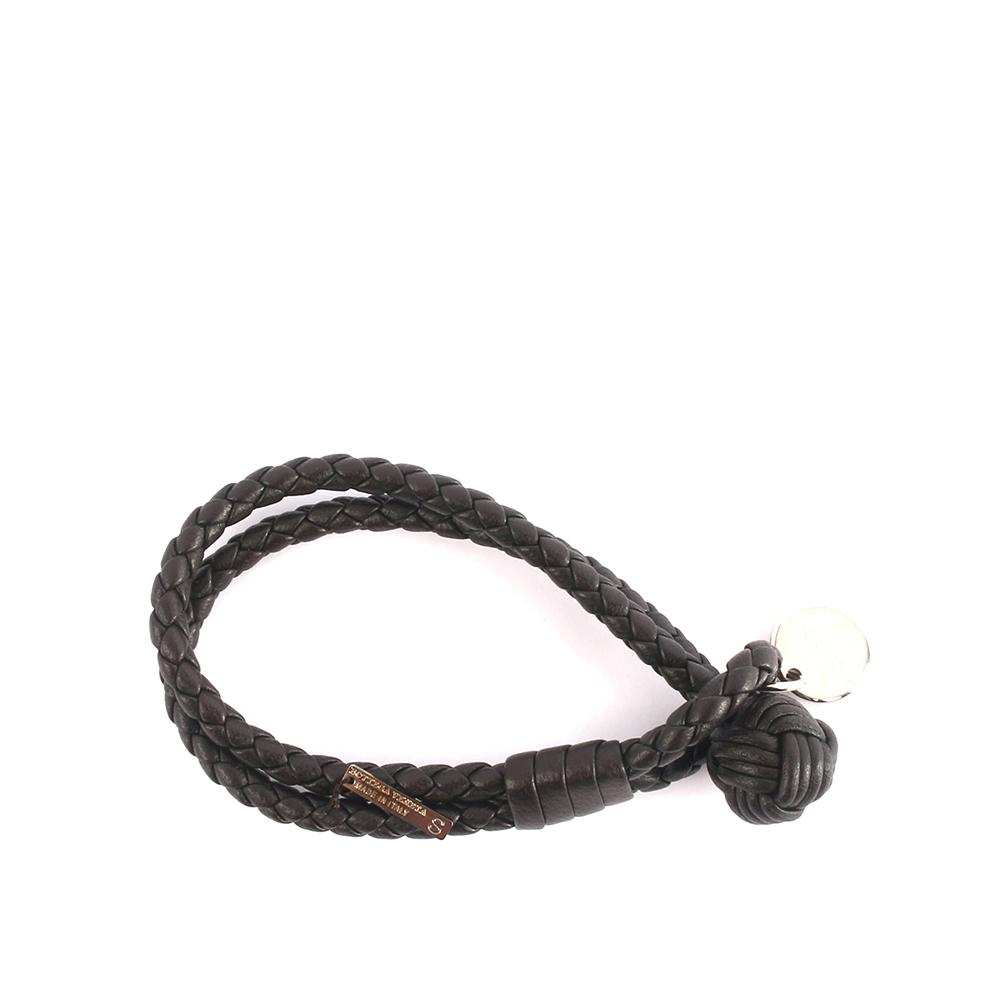 【BOTTEGA VENETA】小羊皮雙圈編織手環 S (深栗子色)