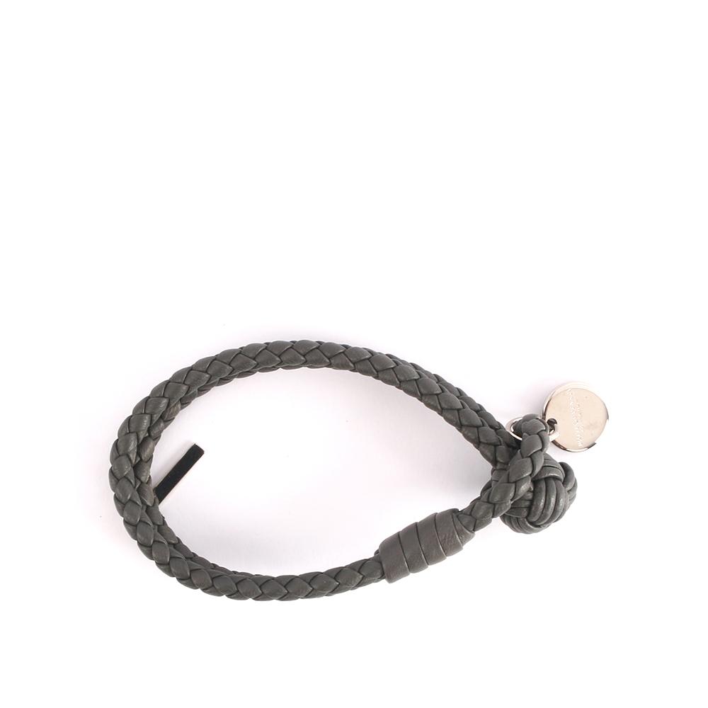 【BOTTEGA VENETA】小羊皮雙圈編織手環 S (灰色)