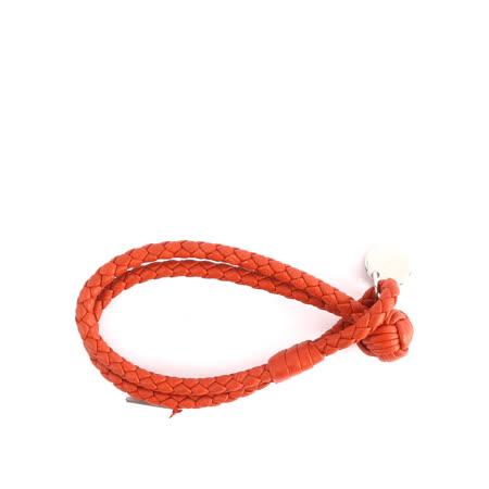 【BOTTEGA VENETA】小羊皮雙圈編織手環 S (夕陽橘色)