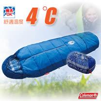 【美國 Coleman】C4 2段可調式化纖睡袋4度C(可耐寒至-1℃/溫度調節).輕量化纖睡袋/可機洗.可當棉被/附收納袋/CM-27270 海軍藍