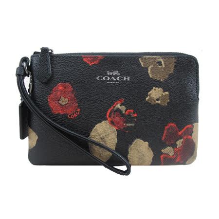 COACH送原廠提袋-新款花卉L型手拿包(黑)