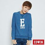 EDWIN INDIGO厚絨E字長袖T恤-女-拔洗藍