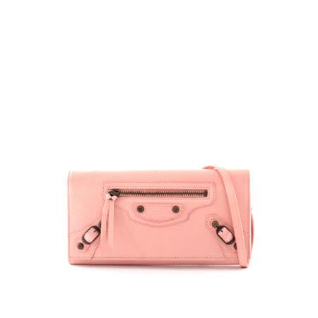 【BALENCIAGA】小釦二用手提皮夾玫瑰粉_展示品(Rose Peche)