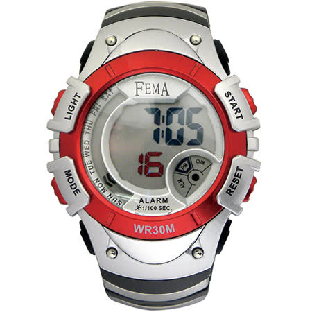 FEMA 菲瑪 學生系列 炫彩流行計時鬧鈴 數位運動錶/紅-43mm/P308B