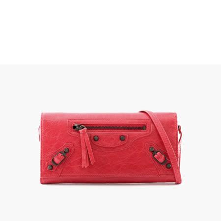 【BALENCIAGA】小釦二用手提皮夾 (蘋果紅ROUGE)