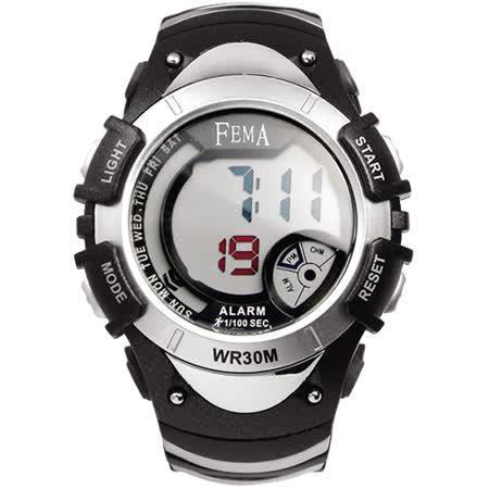 FEMA 菲瑪 學生系列炫彩流行計時鬧鈴 數位運動錶/黑-43mm/P308B