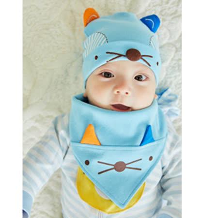 【聖哥Newstar】超可愛小狐狸嬰兒帽+領巾圍兜套組~藍/粉紅兩色-可愛加分-柔軟好穿