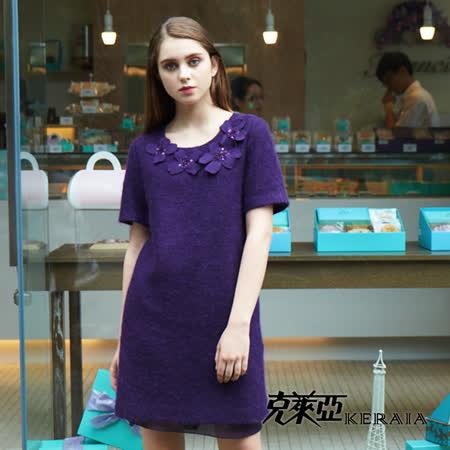 【克萊亞KERAIA】毛料拼接雪紗洋裝