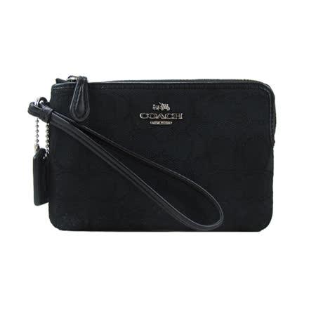COACH 送原廠提袋-新款提把織紋手拿包(框框黑)