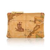 Alviero Martini 義大利地圖包 鑰匙環拉鍊小錢包-地圖黃
