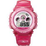 FEMA 菲瑪 俏皮粉 學生系列計時鬧鈴 數位休閒錶(粉紅-37mm) P279G