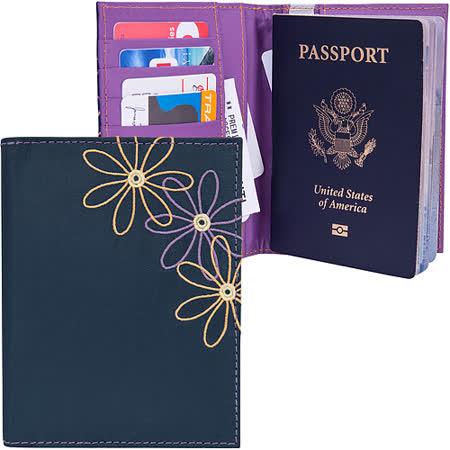 《TRAVELON》RFID七瓣花防護護照夾(藍)