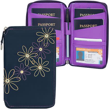 《TRAVELON》RFID七瓣花拉鍊防護證件護照夾(藍)