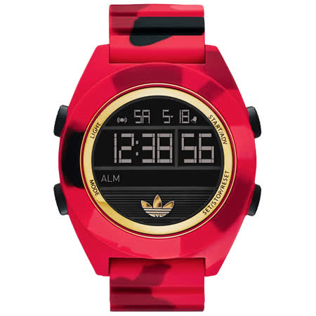 adidas 野戰遊戲迷彩冷光電子腕錶-迷彩紅/52mm ADH2990