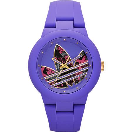 adidas 熱帶雨林三葉草時尚腕錶-紫/41mm ADH3016