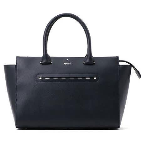 【agnes b.】金屬logo雙層皮革手提肩背兩用包