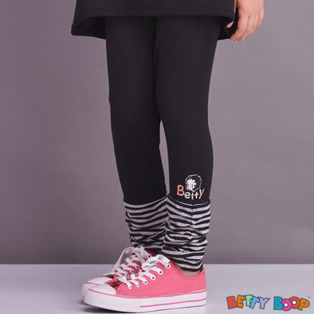 【Betty Boop貝蒂】條紋側鬆緊褲管配色棉質內搭褲(灰色)