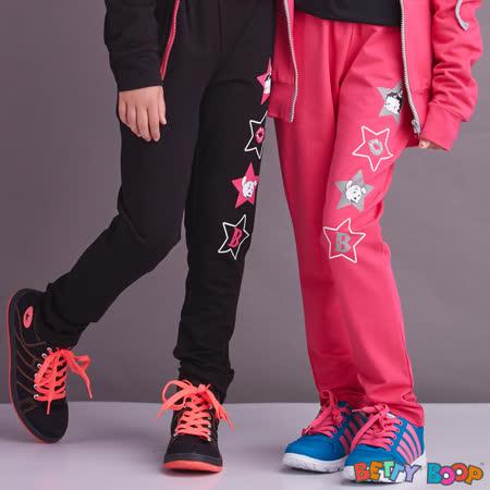 【Betty Boop貝蒂】配色鬆緊帶側星星膠印圖口袋棉褲(桃紅色)