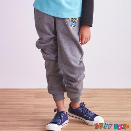 【Betty Boop貝蒂】縫布B鬆緊褲頭口袋刷絨縮口棉褲(共二色)