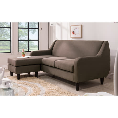 優力格家具-詹姆士歐風L型咖啡色布沙發
