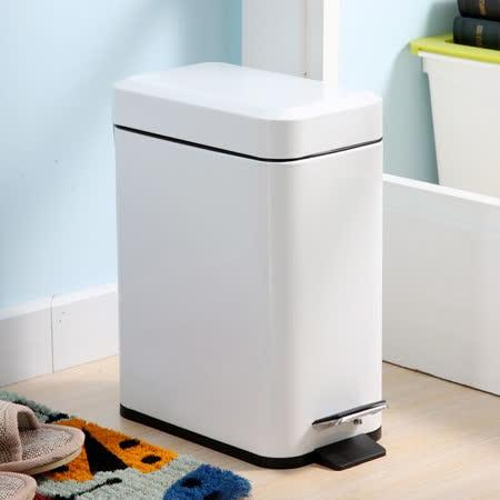 PUSH! 居家生活用品 colourful液壓緩降方型垃圾桶 置物桶 5升白色I19-3