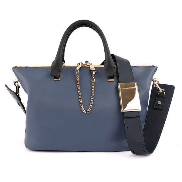 【CHLOE】Baylee Small two-tone tote 小牛皮 (街頭藍)