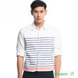 bossini男裝-條紋長袖襯衫02白